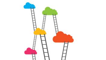Illustration of ladders going between clouds