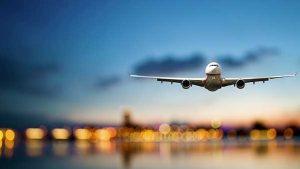 image of a plane landing