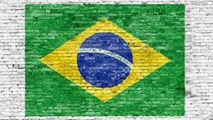 brazil flag on brick wall