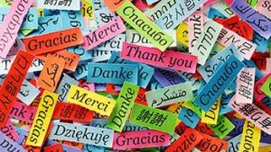 pile of cards with greetings in different languages