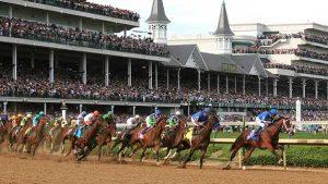 Race horses rounding a corner