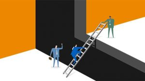 illustration man climbing up ladder