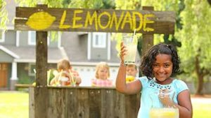 little girls at a lemonade stand