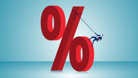 man climbing up percent sign, article about negative interest rates