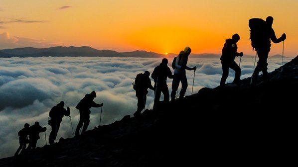 image hiking a mountain