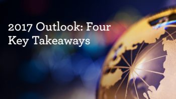 """Image of a globe with text """"2017 Outlook: Four Key Takeaways."""""""