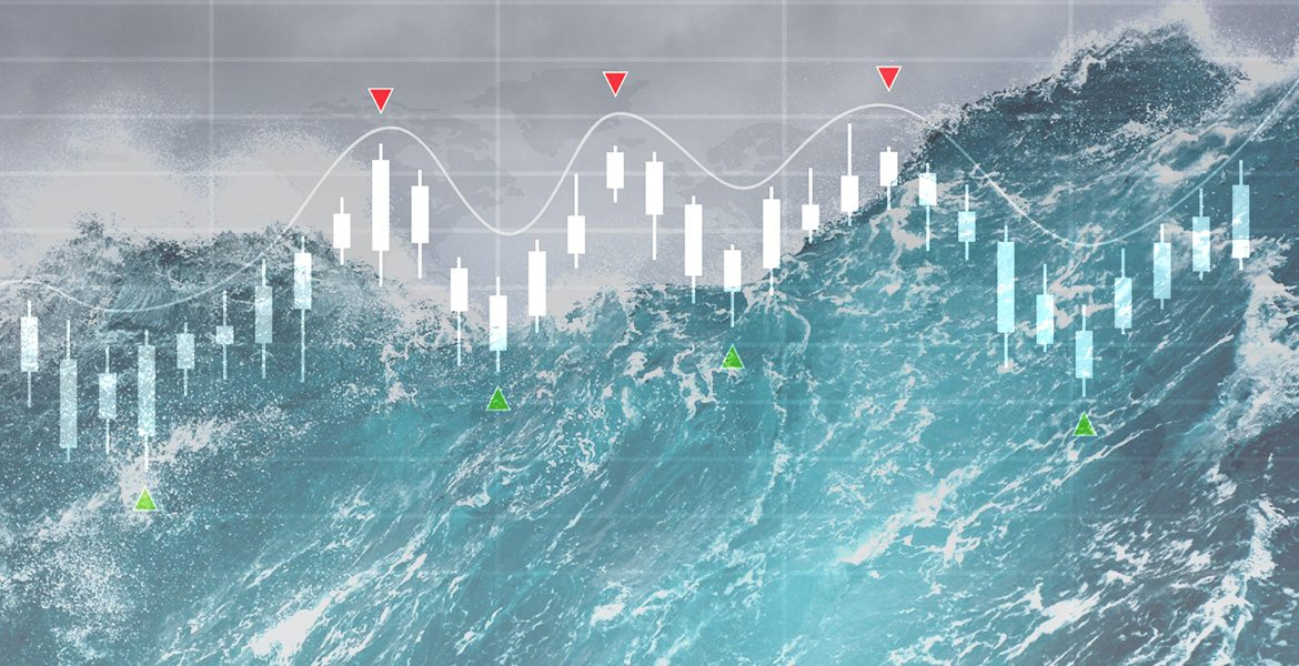 ocean wave with stock market chart large image