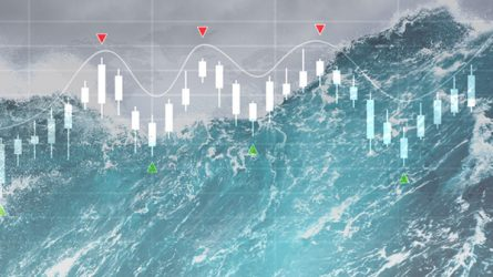 ocean wave with stock market chart