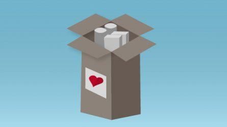 heart on cardboard box