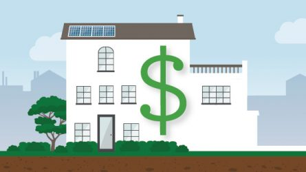 illustration of a house with a dollar sign on it