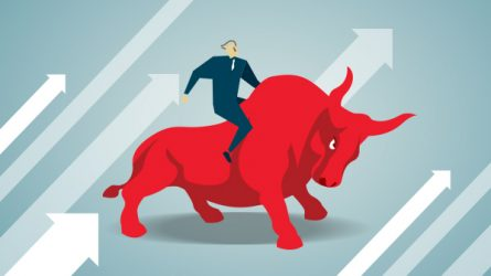illustration of businessperson on a bull
