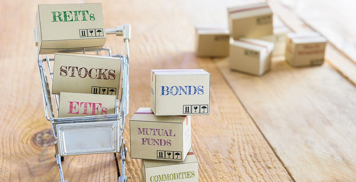 boxes labeled REITs, stocks, ETFs, bonds, mutual funds, and commodities