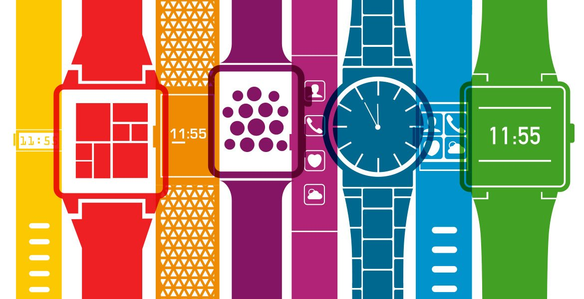 illustration of watches in a line