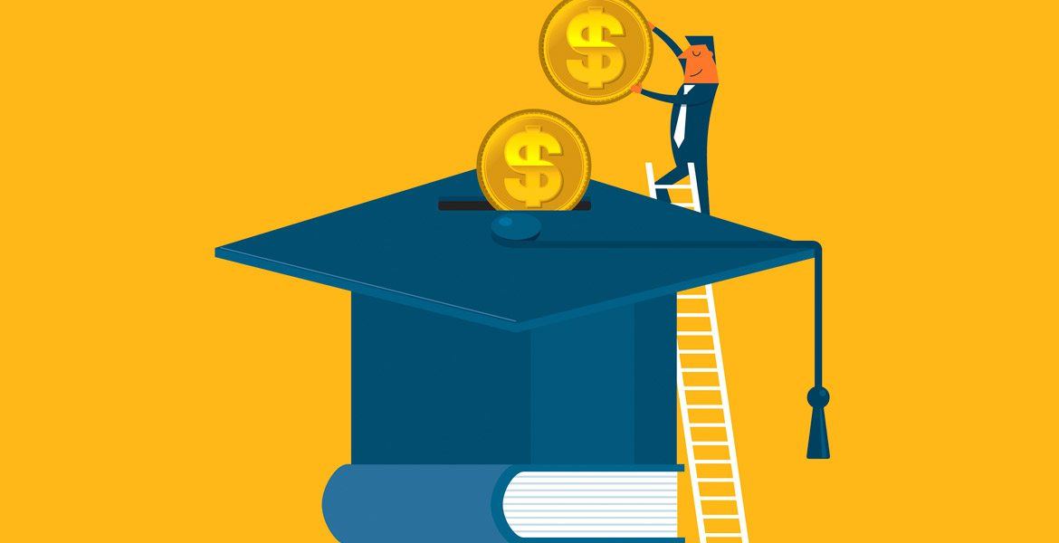 illustration of person putting money into a graduation cap