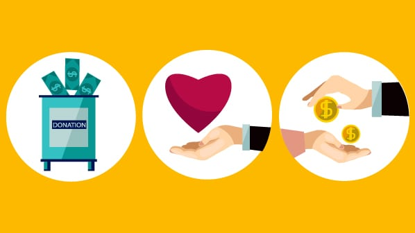 illustrated icons depicting charitable giving