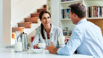 couple discussing retirement savings