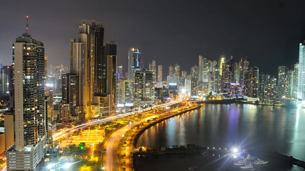 Panama City's skyline by night