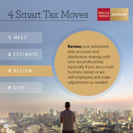 3. Review your retirement plan accounts and distribution strategy with your tax professional, especially if you are a small business owner or are self-employed, and make adjustments as needed.