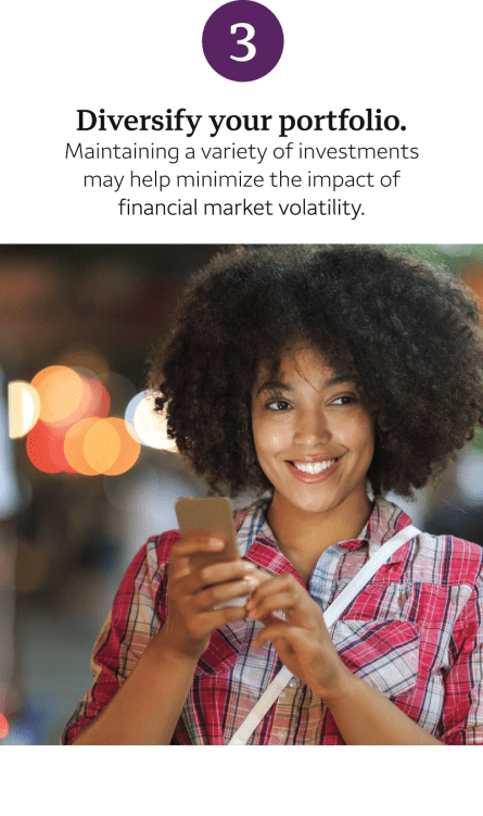 "Woman holding mobile device; text says ""Diversify your portfolio."" For a full text description, click ""view transcript"" below."