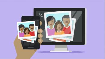 Graphic showing a family portrait on a smartphone and desktop to illustrate the need to limit the personal information you post on social media.