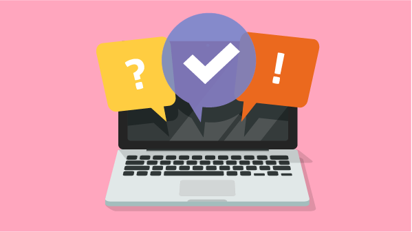 Graphic showing a question mark, a checkmark, and an exclamation point emanating from a laptop screen to illustrate being vigilant about imposters.
