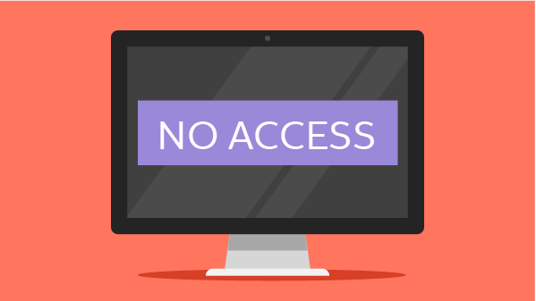 "Graphic showing ""NO ACCESS"" on a computer monitor to illustrate considering putting a credit freeze on your report if you think you're a target."