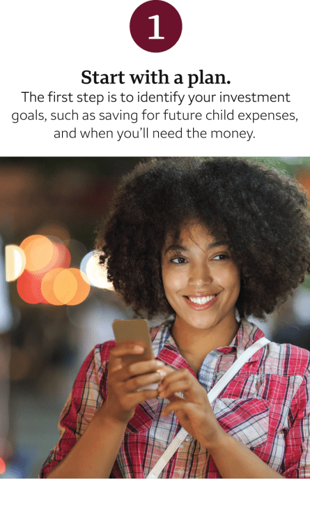 "Woman holding mobile device; text says ""Start with a plan."" For a full text description, click ""view transcript"" below."