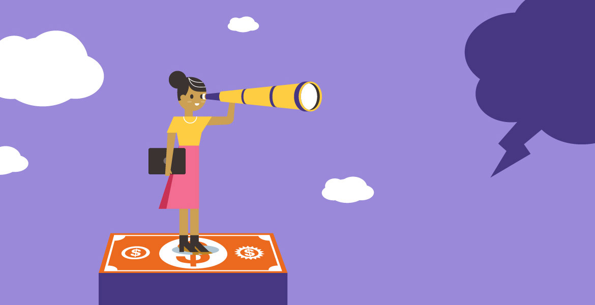 Illustration of a woman peering through a telescope on a cloudy day while standing on a currency symbol.